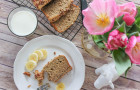 gluten free banana bread and tulips