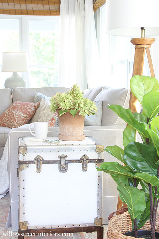 trunk side table and fiddle leaf fig