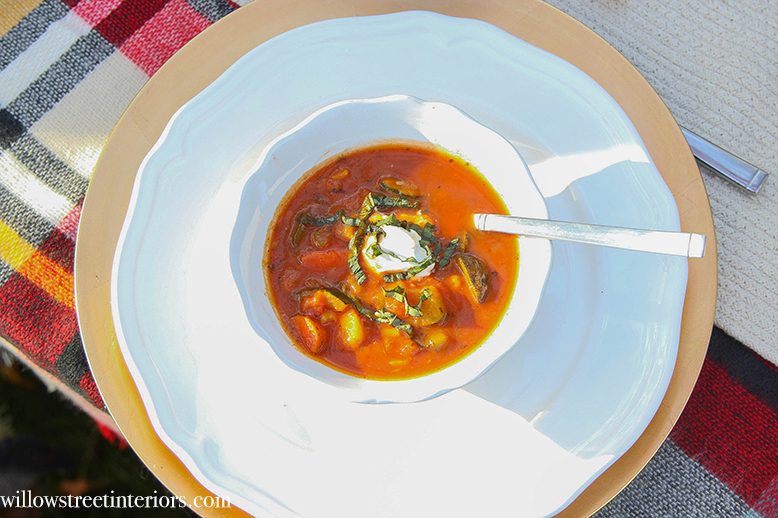 smoky vegetable soup with chicken sausage and basi