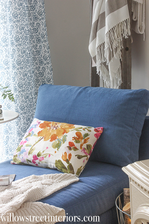 navy slipcover on an ikea chaise | willow street interiors
